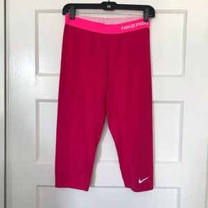 Hot Pink Nike Pro Compression Cropped Pants Size L